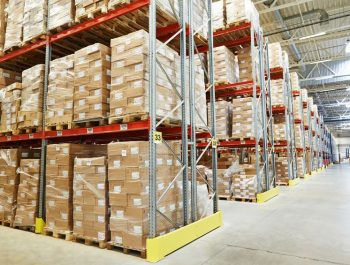 41479476 - interior of modern warehouse. rows of shelves with boxes