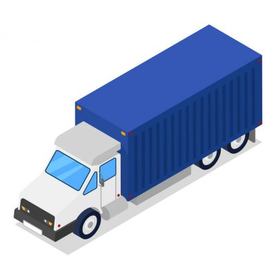 Commercial freight truck isometric 3D icon. Modern lorry truck side view, vehicle for cargo transportation, trucking and delivery service vector illustration